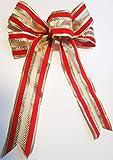 4 Stück große Velourschleife 20 x 30 cm,Geschenkschleife,Dekoschleife Samt, Samtschleife Weihnachtsschleife Weihnachten (Exclusiv Rot-Gold)