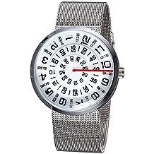Moda Creativo Malla De Banda De La Cadena Número De Marcado Reloj De Pulsera Reloj De Cuarzo Para Los Hombres