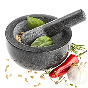 Savisto Premium Solid Granite Pestle And Mortar - Large 15.5cm Diameter from Savisto