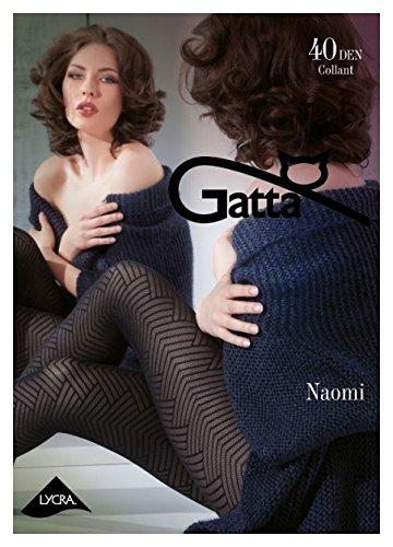 Gatta Naomi 01 - 40den - gemusterte matte schwarze Strumpfhose im Rauten Winkel Eck Design - Größe 4-L - - Strumpfhosen Design