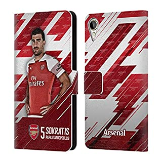 Head Case Designs Offizielle Arsenal FC Shkodran Mustafi 2018/19 Erstes Team Gruppe 1 Brieftasche Handyhülle aus Leder für HTC Desire 10 Lifestyle