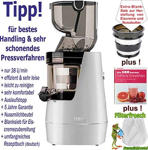 Zebra Whole Slow Juicer - silber/Entsafter/Saftpresse/Gesundheit