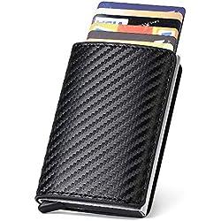 URAQT Porte Carte Crédit, RFID Carte de Crédit Carbon Fiber, Etui de Carte de Visite, Automatique Pop-up pour Hommes et Femmes, Noir