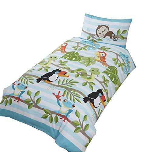 Baumwoll-polyester-mischung Blatt (Papageien Schlangen Blätter Zweige Grüne Baumwolle Mischung Einzelbett ( Plain Weiß Passendes Leintuch - 91 X 191cm + 25) 3 Stück Bettwäsche Set)