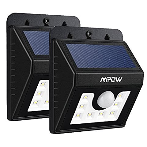 (Pack of 2)LED Solar Motion Sensor Lights, Mpow® 3-in-1 Waterproof Solar Energy Powered Security Light Outdoor Bright Light Lamp with 3 Intelligient Modes for Garden, Outdoor, Fence, Patio, Deck, Yard, Home, Driveway, Stairs, Outside Wall etc.( 8