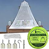 Moskitonetz Inklusive Klebehaken für Reise & Dekoration - 2 Öffnungen oder Vollständig Geschlossener Mückennetz für Doppelbett & Einzelbett - Hochwertige Baldachin & Leichte Materialien