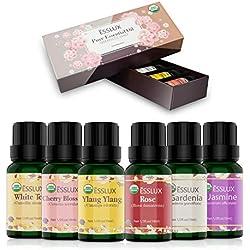 Huiles Essentielles Aromathérapie Naturelle 100% Pures 6 * 10ml, ESSLUX Huile Essentielle Bio pour Diffuseurs