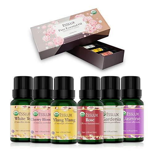 Aromatherapie Ätherische Öle Geschenkset, ESSLUX Ätherische Öle für Diffuser, 100% Pure Duftöle hochwertigster Qualität, Massageöle Geschenkset, Parfümöl in therapeutischer Qualität -