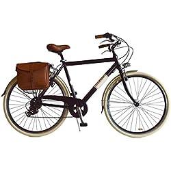 Via Veneto Bicicleta Clasica de Paseo - Retro Alu Uomo, Nero Hombre