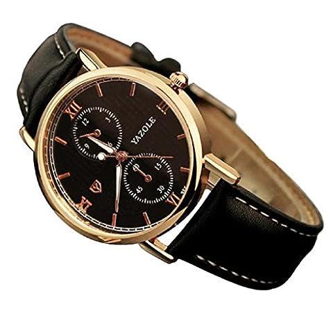 Ularma Luxury Fashion PU Leather Mens Glass Quartz Analog Wristwatch