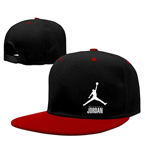 Tboylo Michael Jordan Unisex Cotton Adjustable Snapback Flatbrim Cap One Size Red (Red Snapback Jordan)