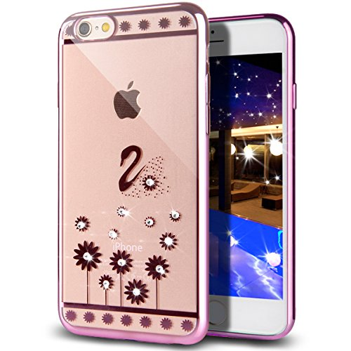 Custodia iPhone 6S Plus,Custodia iPhone 6 Plus,Custodia Cover per iPhone 6 / 6S Plus, ikasus® Placcatura in oro rosa Lucido di cristallo di scintillio strass Diamante Glitter Plating Rose Golden iPhon Rosa Fiore Floreale cigno