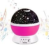 Upgrade LED Projektor Sternenhimmel mit Musik Kinder Nachtlichter Beleuchtunglampe Stern Lichterprojektor 360 Grade Drehen für Baby Zimmer Schlafzimmer Kinder Geschenk Aufladbar von XFH(Pink-Music)