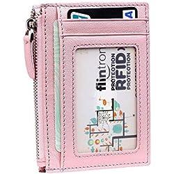 flintronic ® Billetera, Tarjetas de Crédito Slim Moda RFID Bloqueo Monedero de Cuero, Mini Billetera para Cartera ID,Tarjetero Crédito Licencia de Conducir Cartera Hombre