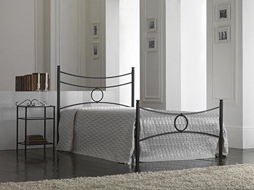 Bed Store Letto 1 Piazza E Mezza in Ferro BATTUTO Modello Conca Colore Nero Grafite