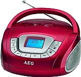 AEG SR 4373 Stereoradio, Uhr mit Alarmfunktion, Multifunktionsdisplay, USB-Port, Card-Slot, Aux-in, Kopfhöreranschluss Rot