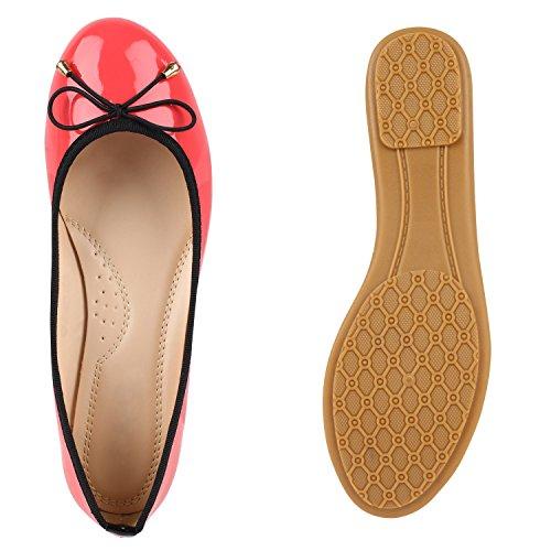 Damen Ballerinas Zierperlen Strass Flats Schuhe Lederoptik Coral Lack