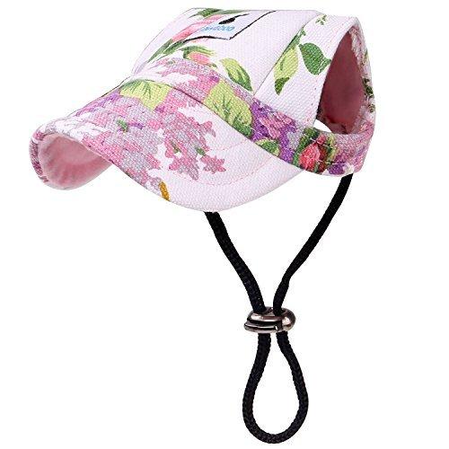 (Pawaboo Hunde Baseball Cap Mütze Basecap Baseballmütze Hut Hundecap mit Ohrlöchern für Welpen Haustier, S, Floral Lila)