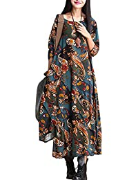 Vogstyle Damen Asymmetrische Patchwork Baumwolle Leinen Kleid
