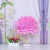 ELEGENCE-Z Tischlampe Dimmen Schlafzimmer Nachttischlampe Geburtstag Hochzeit Dekoration Minimalistischen Kreative Feder Lampe Mode Elegante Romantische Geschenk Weiß Rosa, Pink