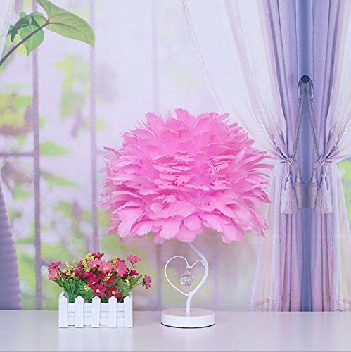 Orientalische Porzellan Lampe (ELEGENCE-Z Tischlampe Dimmen Schlafzimmer Nachttischlampe Geburtstag Hochzeit Dekoration Minimalistischen Kreative Feder Lampe Mode Elegante Romantische Geschenk Weiß Rosa , Pink)