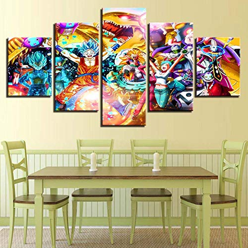 Cuadros modulares Lona 5 Piezas - Dragon Ball Z Goku