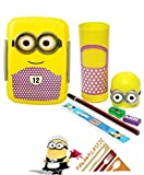 #9: Pawan Plastic Combo Gift Set Of Minions Printed Kids Click Lunch Box With Stationery Holder Minions Pencil Box