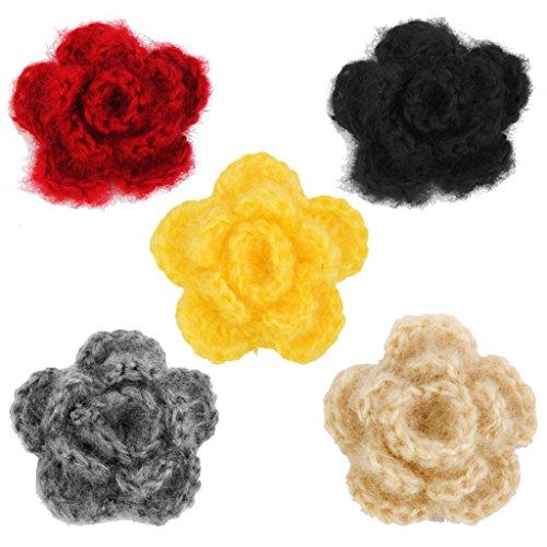 perfk 20 Häkelblumen, Applikation, Aufnäher, Blume, gehäkelt für Kleidung, Beutel, Scrapbooking - schwarz - Gehäkelte Beutel