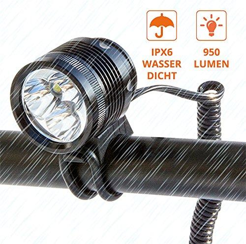ZNEX ØM3 | Sport- und LED-Helmlampe | 960 Lumen | ultra-hell mit 3 Cree XM-L2 Hochleistungs-LEDs | 4 Beleuchtungsmodi | IPX6 wasserdicht | Zubehör für NOTSTRØM Power Bank