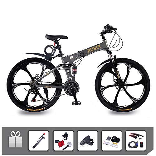EUSIX X9 26 Zoll Mountainbike Für Männer Und Frauen Aluminiumrahmen Faltrad Mit Doppelfederung Und 21-Gang-Getriebe Herren Mountainbike MTB