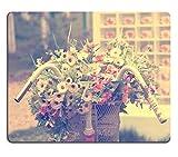 luxlady Mousepads Detalle de un vintage bicicleta con ramo de flores decoración de la boda vintage imagen 33692272personalizada Art ordenador de sobremesa Gaming Mouse Pad