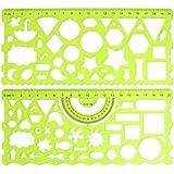 2 Piezas Transparente Plástico Verde Hueco Estudiantes Geométrico Plantilla Estudiante Regla Set