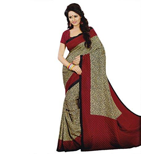 Miraan Women's Kora Silk Printed Saree (VI2110_Red)