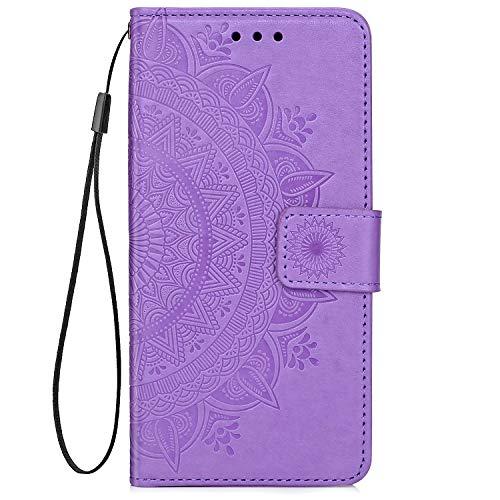 QPOLLY Kompatibel mit Samsung Galaxy A9 2018 Hülle PU Leder Tasche Brieftasche Handyhülle Totem Blumen Muster Ledertasche Flip Hülle Schutzhülle mit Ständer Kartenhalter für Galaxy A9 2018,Lila (Cd Player Lila Mädchen)