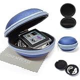 """StyleBitz / Étui """"coquillage"""" pour ranger, protéger et transporter les écouteurs de votre Apple iPod nano 6e génération, fermeture Zip, poche intérieure, extérieur ultra-résistant, avec chiffon de nettoyage conçu en exclusivité par StyleBitz (Bleu)"""