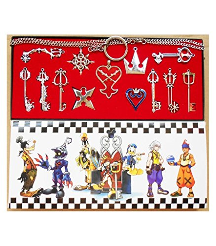 Kingdom Hearts 2 Key Chain Necklace Set 13pcs Cosplay Accessories Silver