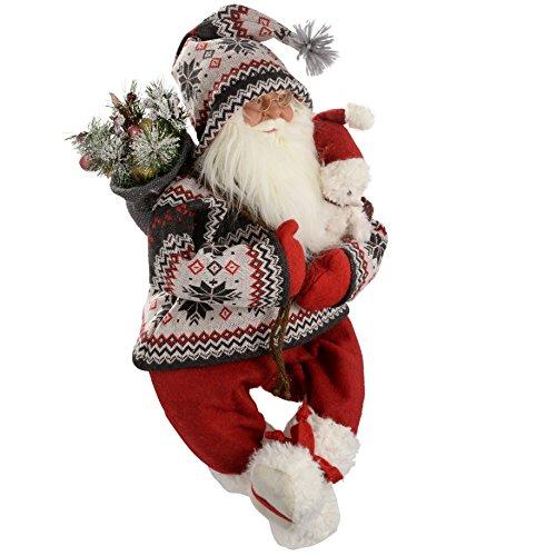 WeRChristmas - Figura decorativa de Navidad (60 cm, diseño de Papá Noel con saco y abrigo de punto, color rojo y verde)