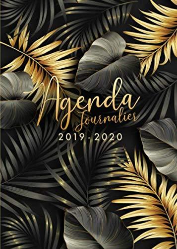 Agenda 2019/2020: 18 mois journalier 2019-20 - format A5 - juillet 2019 à décembre 2020 - planificateur, semainier simple & graphique, motif Feuille de Palmier Tropical or et noir