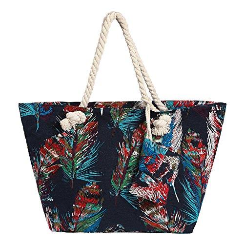 Grand sac de plage impermable avec fermeture  glissire Sac shopping  bandoulire Plumes col