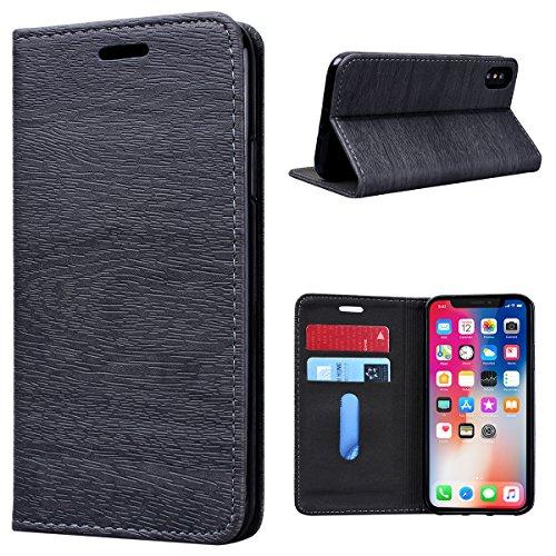 Cover iPhone X, GrandEver Cover in Pelle Elegante Portafoglio Flip Custodia Slot Holder per Carta di Credito Cover Case per iPhone X - Nero Grigio