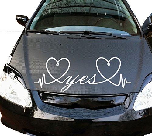 Autoaufkleber Autotattoo Heirat Hochzeit Wedding Yes Weiß MITTEL
