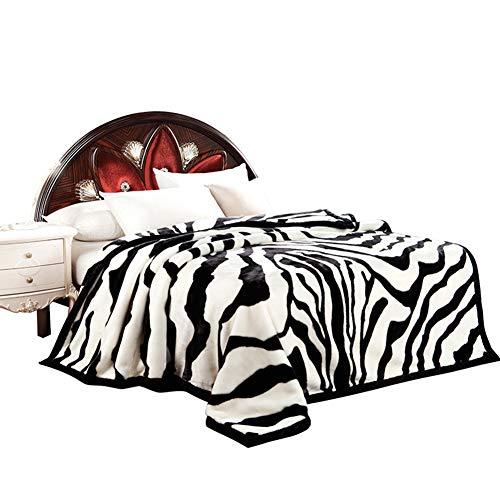 Decke Europäische Raschel Dicke Gestreifte Decke Einzelne Doppelte Weiße Tiger Decke 195 * 230Cm,195 * 230CM - Gestreifte Weiße Decke