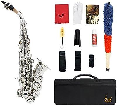 ammoon LADE Latón Oro Talla Patrón Bb Curva Althorn Saxofón Soprano Sax Nácar Blanco Botones Instrumento de Viento con Caso Guantes Paño Grasa Correa Cepillo de Limpieza