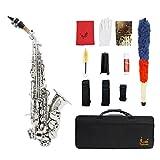 ammoon LADE Or Brass Carve Motif Bb Bent Althorne Soprano Saxophone Sax Blanc Pearl Shell Boutons Instrument Vent avec Gants Case chiffon de nettoyage Graisse Belt Brush