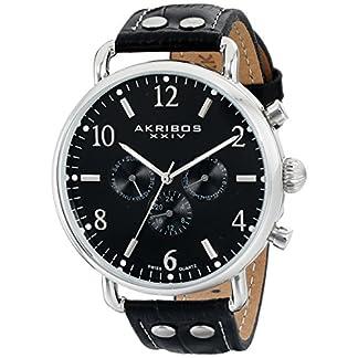 Akribos-XXIV-Herren-Armbanduhr-Ultimate-mit-Schwarz-Leder-Band