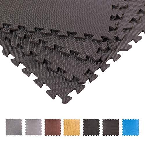 BodenMax® Dicke Schutzmatten Set Fitness-12 Puzzlematten Bodenschutzmatten | Unterlegmatten | Fitnessmatten für Bodenschutz - Sport, Fitnessraum, Keller anthrazit