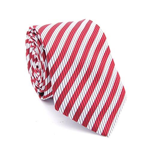 Tall Mens Tie (LanSilk Men Tie Set - Klassische Auswahl an schmalen Business Krawatten, Manschettenknöpfe und Taschentuch, Geschenkbox-Set, 100% Seide (White Burgundy Dark Red Stripe Skinny Silk Tie 1 (tall)))