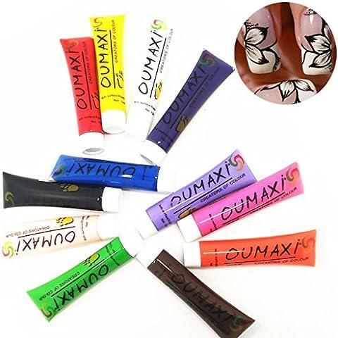 Goldenssy 12 Tubo Color 3D Pintura de Acrílico Pintauñas Pintar Gel UV Nail Art Pen Painting Design para Manicura y Pedicura Decoración para Arte de