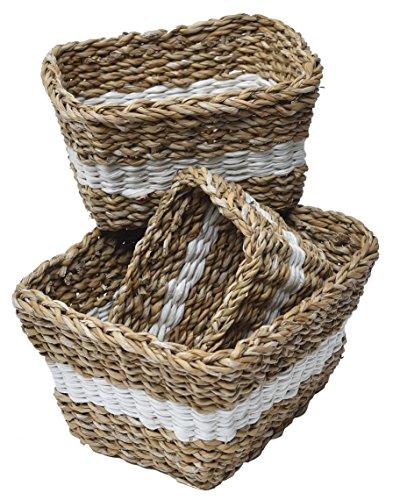 Set di 3 cestini in vero giunco di mare - stile campestre - colore: naturale e avorio