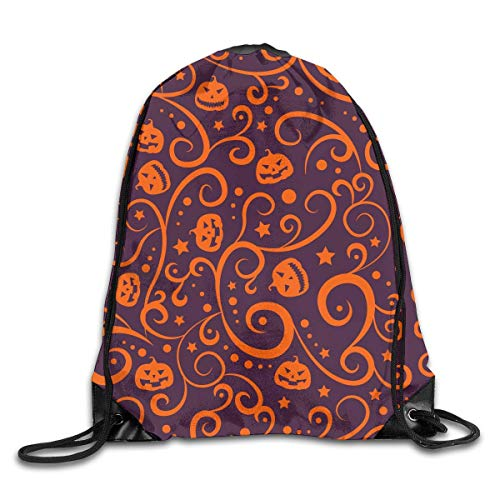 Naiyin Happy Helloween Art Flower Pattern Drawstring Backpack Bag Rucksack Shoulder Sackpack Sport Gym Yoga Runner Beach Hiking Dance